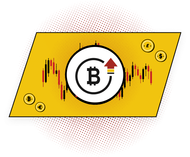 Bitcoin Logo with an uptrend vector arrow over a candle chart background. Bitcoin Shoots Past $56K as Rally Decouples from Falling Stocks